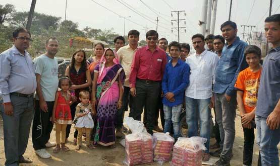sweets distribution on diwali by team Nayi Kiran